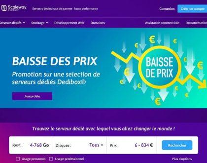 Scaleway : prix en baisse sur une sélection de serveurs dédiés Dedibox